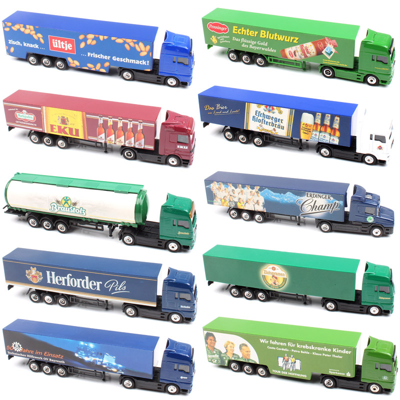 Kid's 1:87 Scale Mini Advertising AD Media Container Cargo Heavy Tow Truck Diecast Models Car Vehicle Cheap Toys For Collection