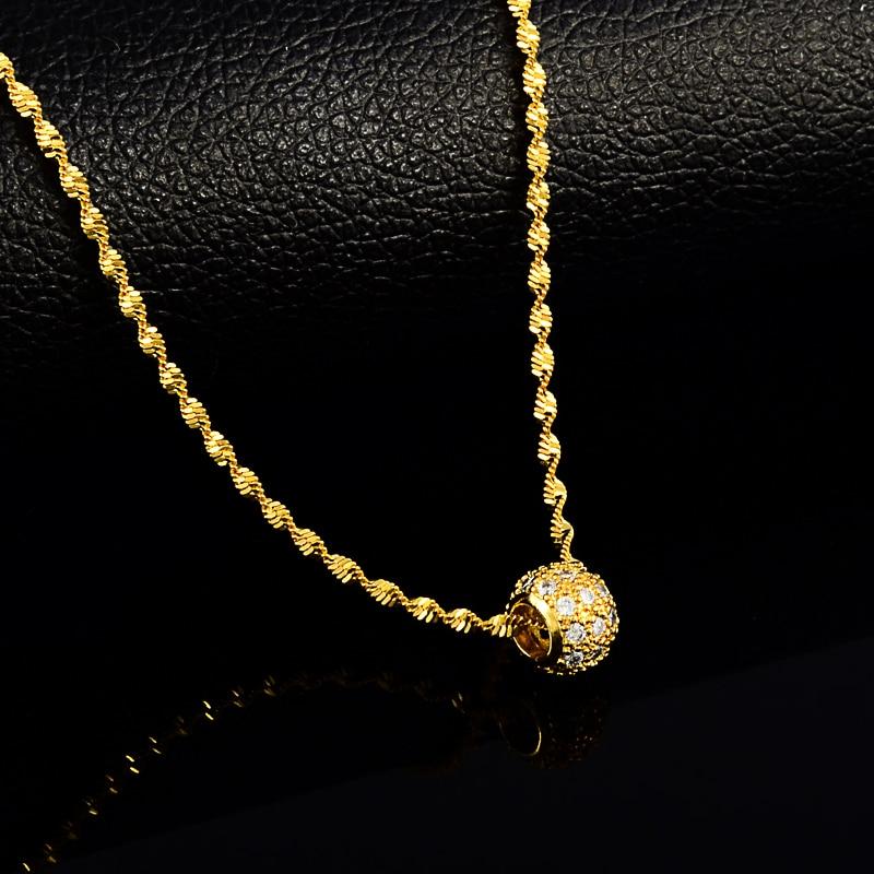 Lingkaran bulat pesona liontin kalung untuk wanita, Gadis 24 K kalung kuning dengan rantai gelombang air CZ jelas