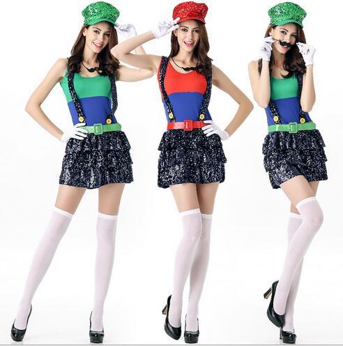 Mulheres traje de super mario luigi traje roupas sexy fantasia traje  encanador mario bros super mario bros trajes para adultos em Fantasias  femininas de ... 2242f40a7ba