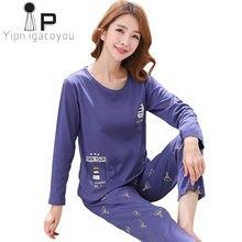 62cbace26d Pyjamas Women Pajamas Set Autumn 2018 Winter ew Cartoon Cotton Homewear Female  Sleepwear Kawaii Night suit