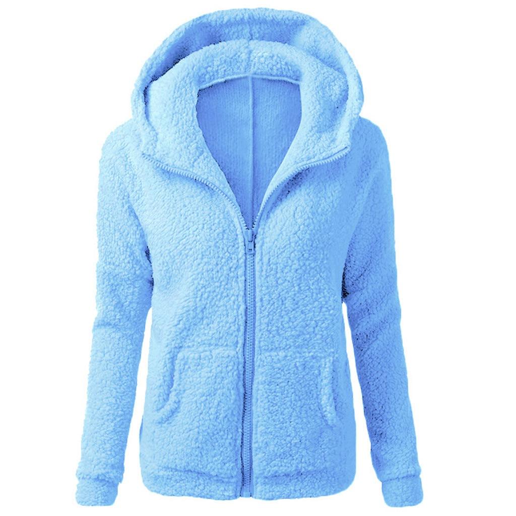 HTB1q XCX0zvK1RkSnfoq6zMwVXaQ Women Solid Color Coat Thicken Soft Fleece Winter Autumn Warm Jacket Hooded Zipper Overcoat Female Fashion Casual Outwear Coat