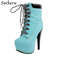 Sorbern Women Boots Fashion New Arrive 2018 Spike Heels Lace Up Zapatos Mujer Ankle Boots For Women Plus Size Botas Mujer Hot