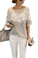 Easy Casual Girl S Lace Openwork Crochet Shawl Collar Bat Sleeve T Shirt Blouse