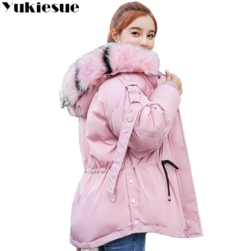 winter jacket women   parka   2018 winter warm plus thick Big faux fur collar hooded coat female Plus size XXXL Women's down jacket