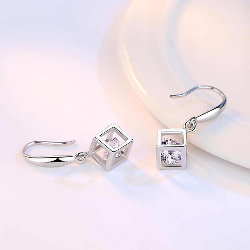 Anenjery 5 di Stile 25 Sterling Set Gioielli D'argento Zircone Quadrato Del Cubo Collana + Orecchini + Braccialetto per Le Donne Regalo