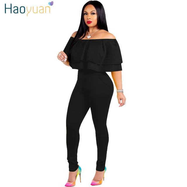 fbd2b000b6bb HAOYUAN Sexy Bodycon Jumpsuit Casual Overalls Full Bodysuit Purple Red Black  Streetwear One Piece Ruffle Rompers Womens Jumpsuit
