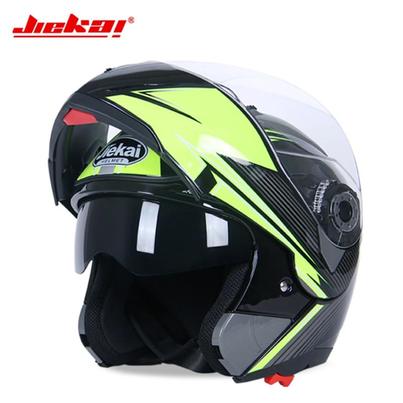 Genuine JIEKAI Motorcycle Helmet Flip up Racing Summer Winter Dual Lens Visor Moto Motorbike Motor bike