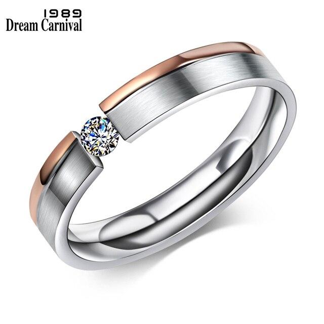DreamCarnival1989 Two-tone Color anel de noivado for Men and Women Zircon Anillo