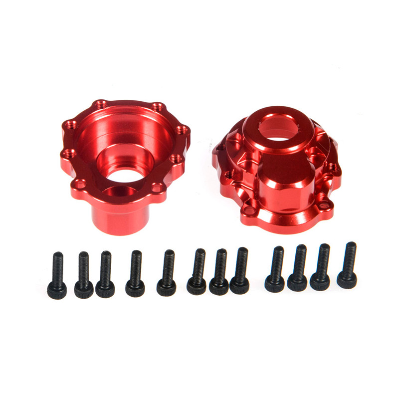 2 Pairs  Red Upgrade High-ended Metal Alloy Front/Rear Wheel Hub Case Cup Cover Shell Housing for Traxxas Trx-4 trx4 1/10 RC Car billet rear hub carriers for losi 5ive t