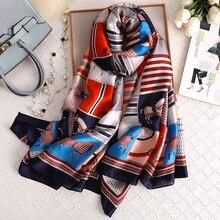 luxury brand hijab summer women scarves soft long print silk