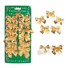 72Pcs/lot Christmas Tree Decoration Red Silver Gold Color Bowknot Ornaments Xmas Wedding Festival Party Bowknots Decors