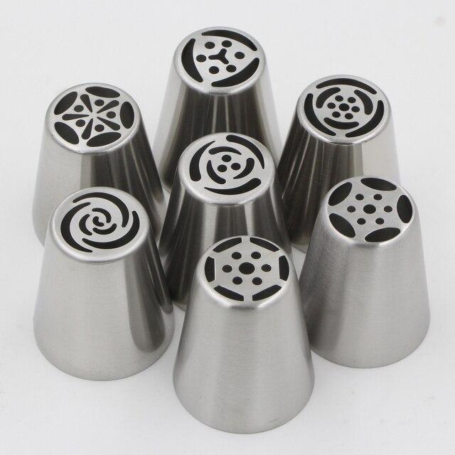 7 pz In Acciaio Inox Fondente Cupcake Glassa Piping Punte Set Russo Pasticceria