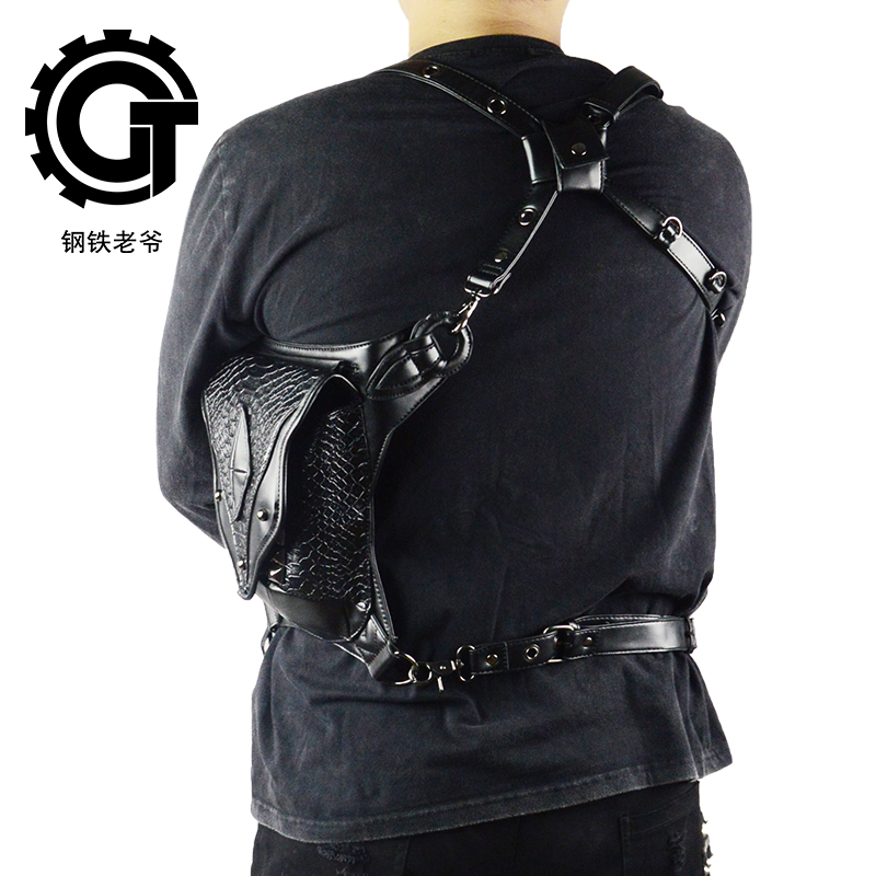 Punk Female Male Unisex Retro Rock Shoulder Bag Small Phones Leg Bag Men And Women Messenger Shoulder Waist Bags in Waist Packs from Luggage Bags