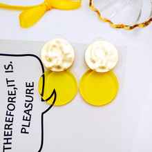 2018 Korean Fashion Women Accessories Summer Sweet Lovely Yellow Candy Tassel Geometry Dangle Earrings for Girl Cute Jewelry