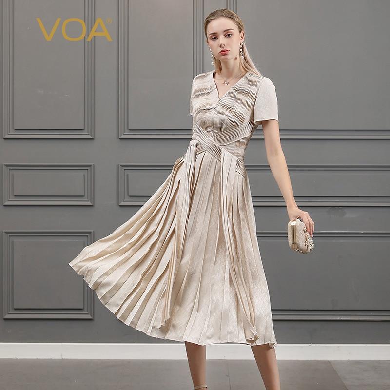 VOA Silk Long Dress Women Large Size Summer Pleated Dresses Short Sleeve V  Neck vestido sukienki c9a3a197aa8d