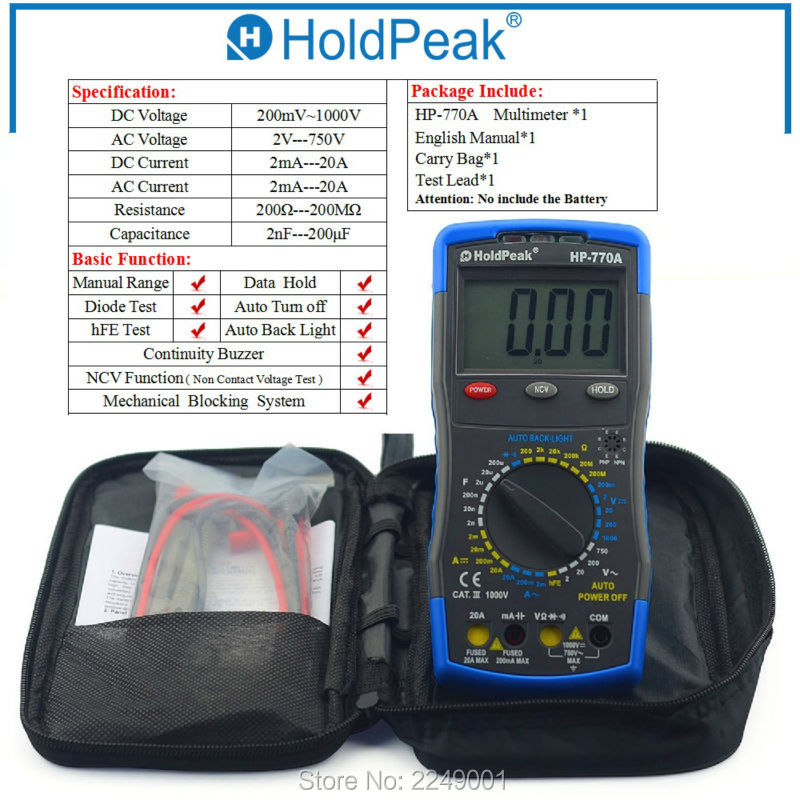 Multimetro Digital HoldPeak HP-770A AC DC Voltage Meter Digital Multimeter with Carry Bag mini multimeter holdpeak hp 36c ad dc manual range digital multimeter meter portable digital multimeter