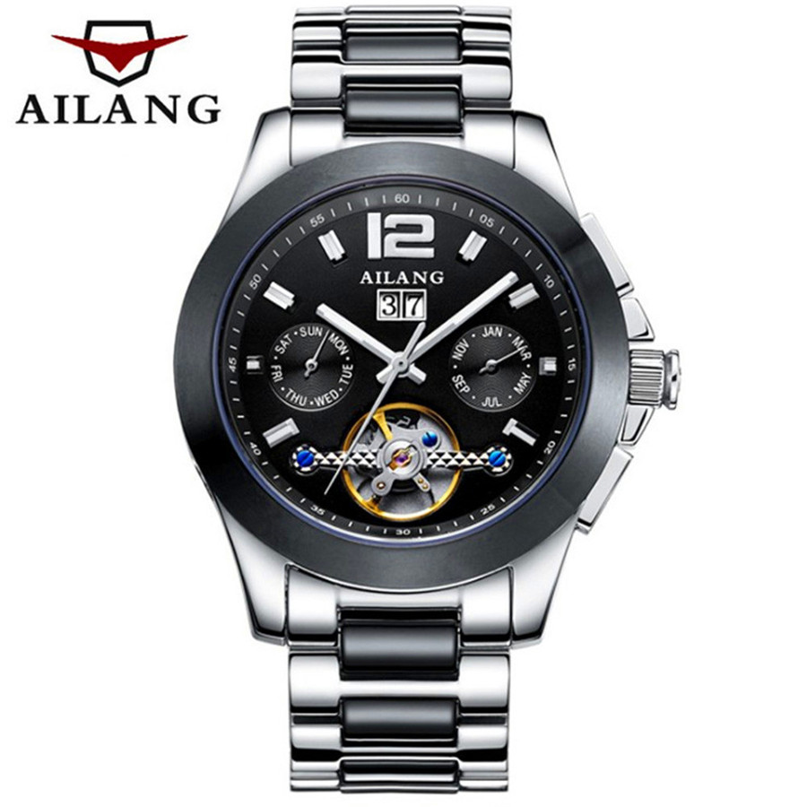 AILANG Mens Watches Top Brand Luxury Automatic Mechanical Watch Full Steel Business Waterproof Sport Watches Relogio Masculino 2018 ailang sapphire automatic mechanical watch mens top brand luxury waterproof brown genuine leather watch relogio masculine