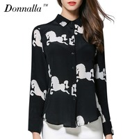 Donnalla Women Shirts 2017 New Ladies Horse Printed Long Sleeve Chiffon Shirt Blouses Autumn Spring OL