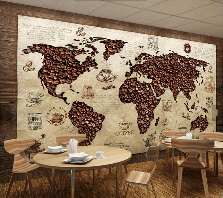 papel de parede Cafe world map Vintage wallpaper,coffee shop living room sofa TV wall bedroom restaurant bar 3d murals science and technology of rubber