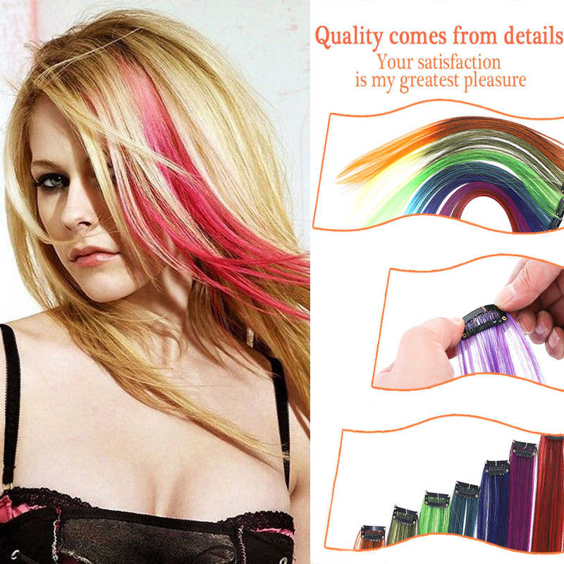 Clip of Colorful Synthetic Hair Extensions One-Piece Color Strips Long Hairpiece Right For Fashion Adult Women BUQI