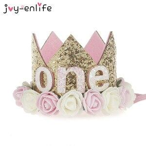 Головная повязка для новорожденных с цветами и короной в виде JOY-ENLIFE, Золотая Корона на день рождения, От 1 до 3 лет с цифрами, шляпка на день рождения, аксессуары для волос для детей