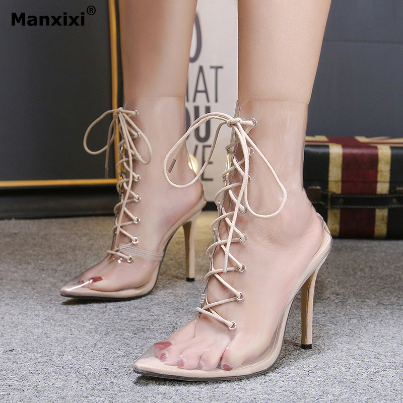 Summer Women Shoe pvc Transparent clear Boots Ankle Middle Boots high heel pointed toe cross-tied pumps Stilettos Female Sandals