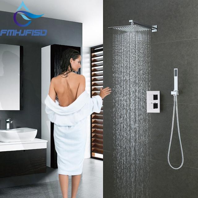 Thermostatic 12 Square Rain Shower Faucet Set Valve Mixer Tap Hand
