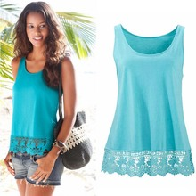 2016 Sexy Fashion Women Shirts Summer Vest Top Sleeveless Lace Casual Tank Tops T-Shirt Blouse