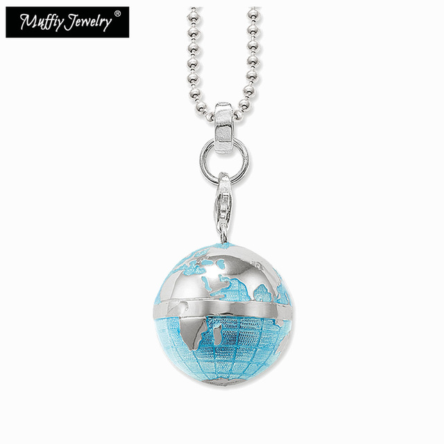 Blue globe pendant necklacethomas style trendy popcorn chain blue globe pendant necklacethomas style trendy popcorn chain european ts fashion gift jewelry in aloadofball Choice Image