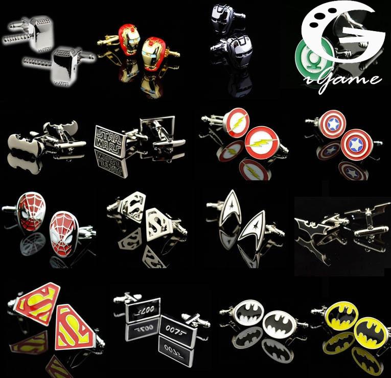 Promotion! Superhero Cuff Link Retail Superman Ironman Spiderman Starwars Captain Flash Green Lanten Batman 007 Free Shipping