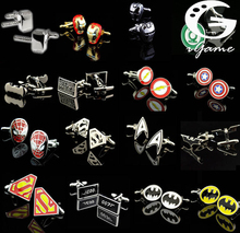 Promotion! Superhero Cuff Link retail superman ironman spiderman starwars captain flash green lanten batman 007 free shipping