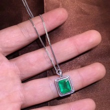 Fine Jewelry Certificate Real 18K White Gold AU750 Natural Green Emerald 2.16ct Gemstones Pendants for Women Necklace