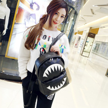 New double shoulder  female bag college style cartoon printing   backpack  cross body bag soft PU material