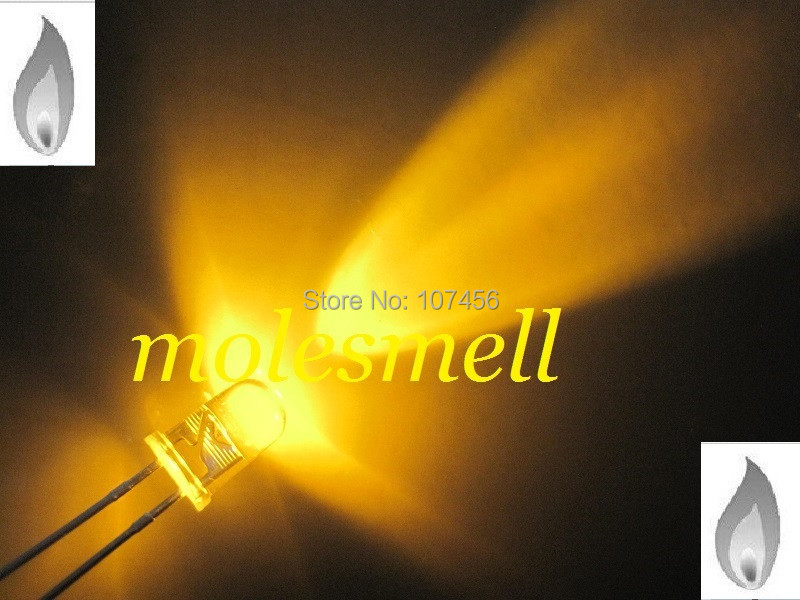 1000pcs 5mm Yellow Candle Light Flicker Ultra Bright Flickering yellow LED Leds water clear lens led