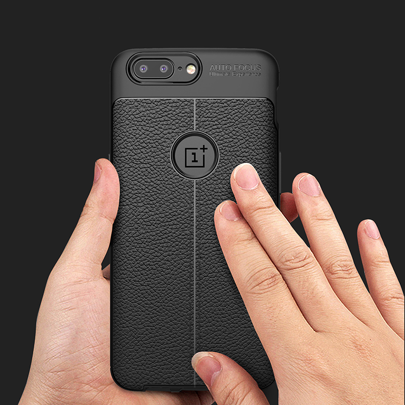 Luxury Soft Silicon Litchi Striae Leather Case for OnePlus 5 Capa Cack Cover for One Plus 5 Coque Shock Proof Back Cover