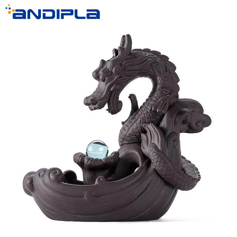 Zen Style Yixing Dragon Ball arôme cône porte-encens violet argile Backflow brûleur d'encens encensoir ornement Vintage décor à la maison