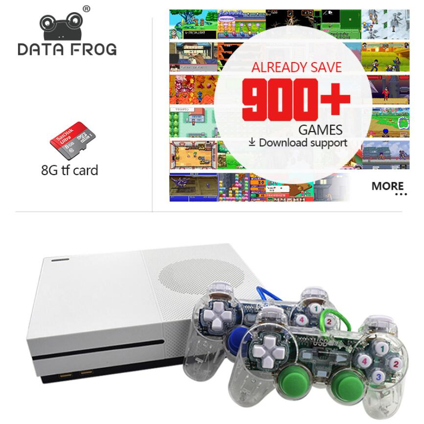 Data Frog New 4GB Video Game Console TV Consoles with 600 Games Transparent Gamepad Family Player