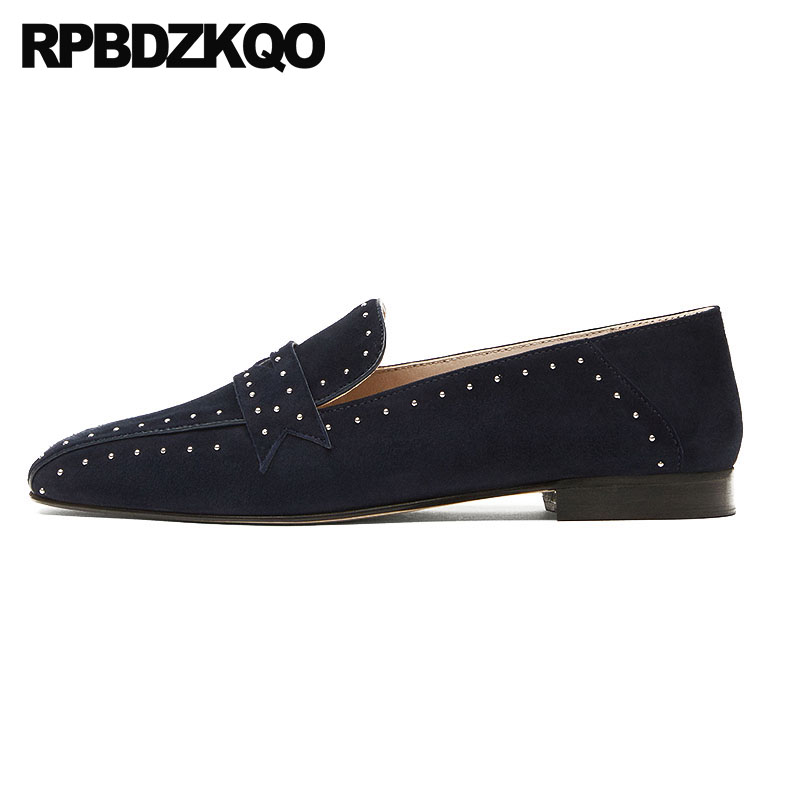Square Toe Loafers Rivet Ladies Black China Wide Fit Shoes Comfortable Slip On Women Female Designer Chinese Flats Stud Suede bow elastic round toe women slip on latest suede flats big designer shoes china chinese fashion beautiful european drop shipping