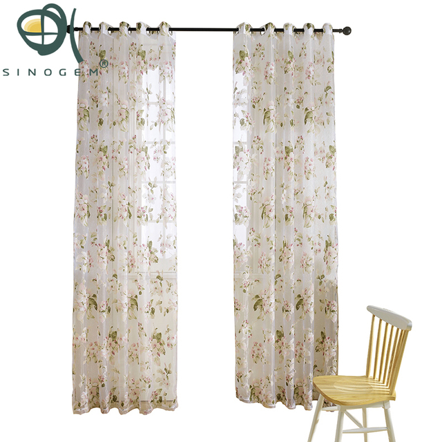 Sinogem 2018 Modern Fl Tulle Window Treatments Sheer Curtains For Living Room The Bedroom Kitchen Panel D And Blinds