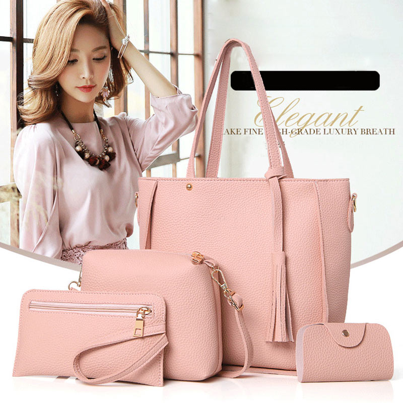 4Pcs/Set Fashion Women Messenger Bags Zipped Tassels Leather Solid Color Handbag Ladies Girls Purse Shoulder Bag LT88