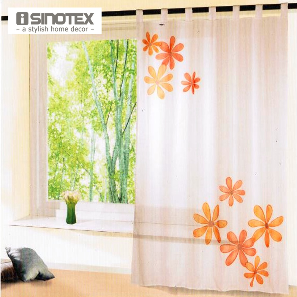 iSINOTEX Window Curtain Floral Printed Pattern Transparent Sheer ...