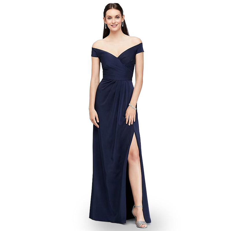 One word collar elegant   evening     dress   satin formal formal   dresses   Open fork Floor-Length Long   evening   gown robe de soiree