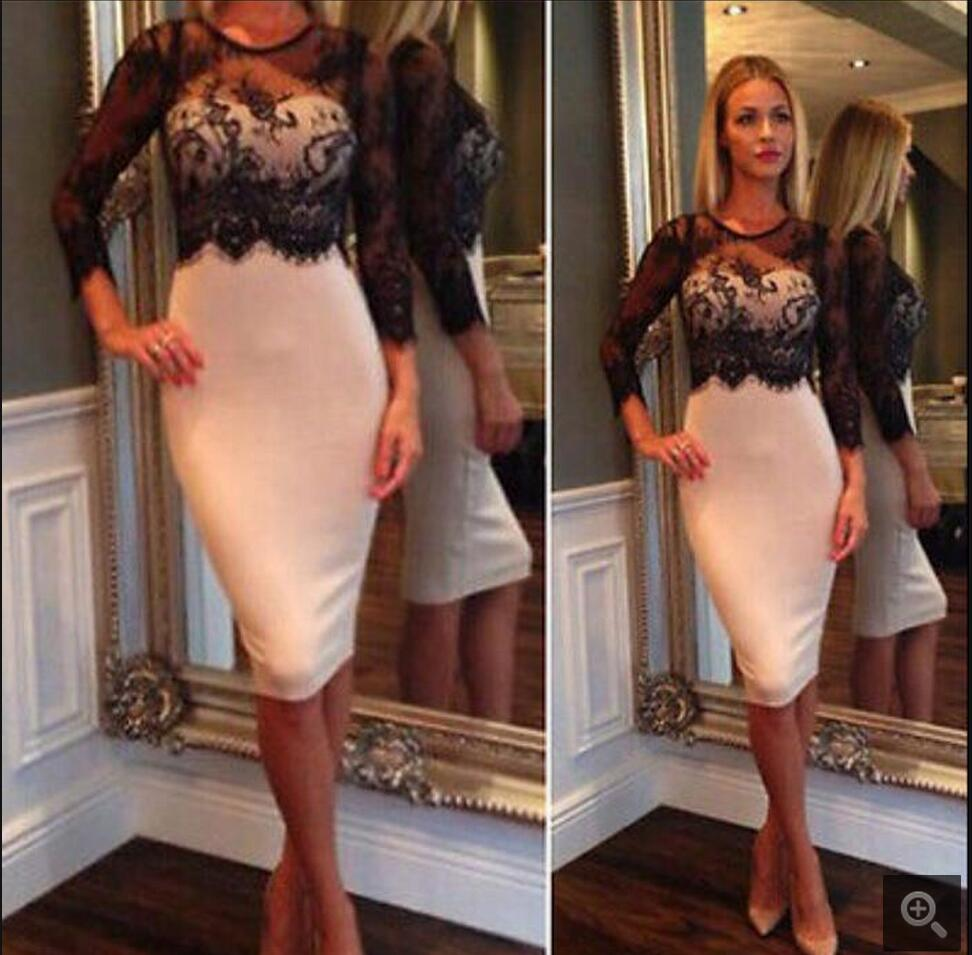 2016 Black And White 3/4 Sleeves Sheath Fitted Homecoming Dresses Knee Length Illusion Neckline Short Homecoming Gowns