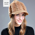 Korea Winter Hat For Lady Dress Rabbit Fur Material Curved Brim Baseball Hat 6 Colors Solid Available Knitted Cap YF102703