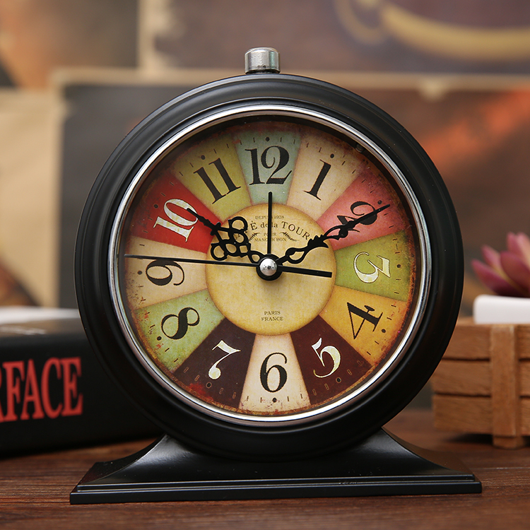 2017 Vintage 3D Metal Jow Alarm Clock Double Bell Desk Clocks Twin Ring Wrought Iron Met ...