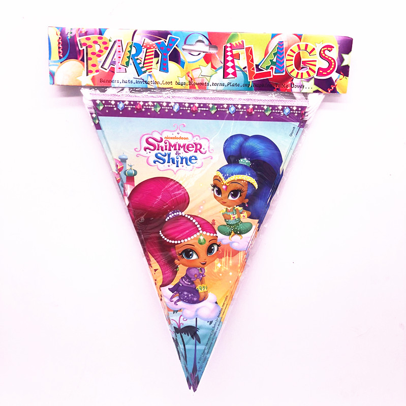 Kids Birthday Party Flag Banner Decor Beauty and the Beast Shimmer and Shine
