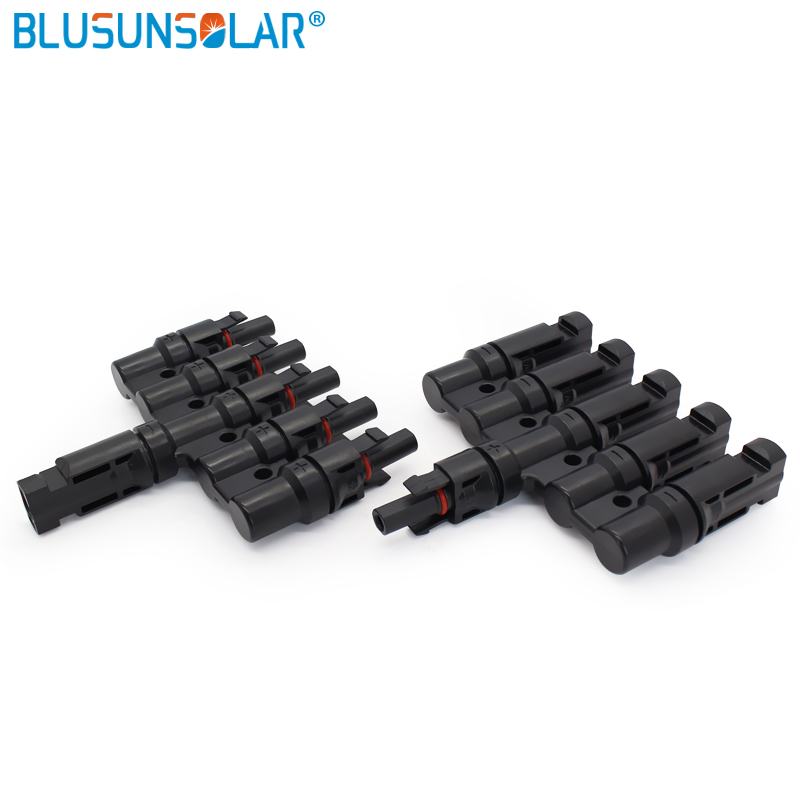 Blusunsolar Factory Selling 10 Pairs/lot 5 In 1 Solar T Branch Multi Branch Connector Wiring Solar Panels In Parallel