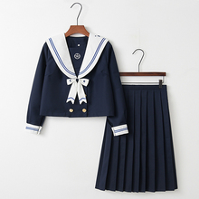 UPHYD New Arrival Star Embroidery School Uniforms Dark blue Sailor Uniform Japanese High School Uniforms For girls
