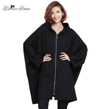 BelineRosa 2017 Women's Winter Plus Size Clothing Pure Color European Style Casual Batwing Sleeve Big Sizes Loose Coat HS000381(China)