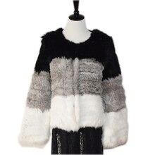 harppihop 100% Natural Real Knit Rabbit Fur Cardigan Coat Jacket Thick Irregular Collar Garment Knitted Outerwear